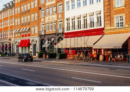 Copenhagen, Denmark - January 3, 2015: Street Scene In Copenhagen Denmark