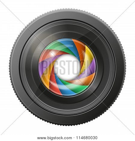 Camera Lens With Multicolored Shutter Open, Isolated On White Background.