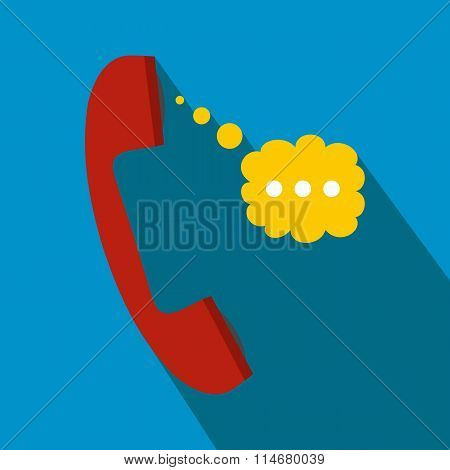 Red handset and speech cloud flat icon