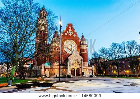 Malmo, Sweden - January 3, 2015: St. John's Church At Night. St. John's Church Is Church Located In