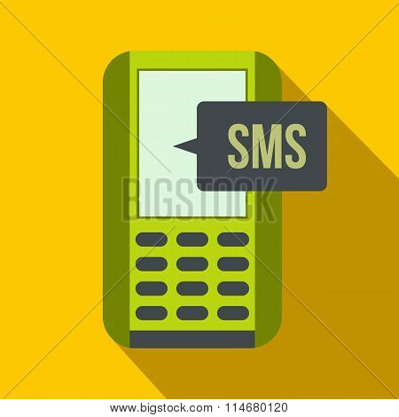 Mobile phone with sms message symbol flat icon