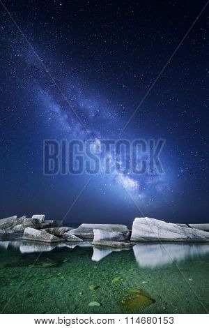 Night Landscape With Milky Way At The Sea. Starry Sky