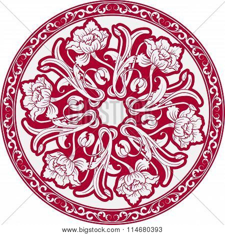 The Circular Pattern With Motifs Of Chinese Painting. Mandala Of White Flowers On A Red Background.