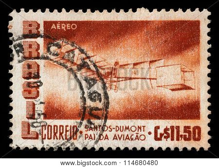 BRAZIL - CIRCA 1956: A stamp printed by Brazil shows The 50th Anniversary of the Dumont's First Heavier-than-air Flight, circa 1956.