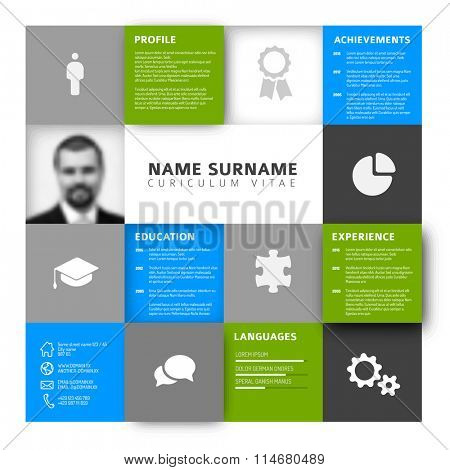 Vector mosaic minimalist cv / resume template profile - green and blue version