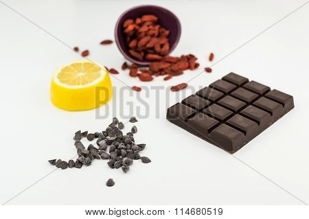 Superfoods; chocolate, goji berries and lemon