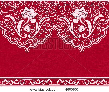 Seamless Pattern Based On Chinese Painting. White Flowers And Leaves On A Red Background, Imitation