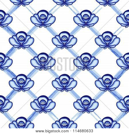 Seamless Pattern In Style Gzhel. A Lattice From Blue Watercolor Lines With Flowers. Stylization.