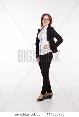 Business Woman In Black Suit And Glasses