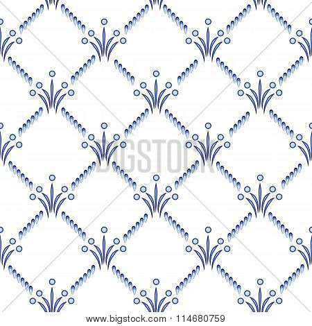 The Repeating Geometrical Pattern In Style Gzhel. A Lattice With Small Blue Elements. Ethnic Backgro