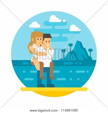 Flat Design Couple Piggyback  Beach
