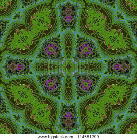 Seamless ornament green violet purple