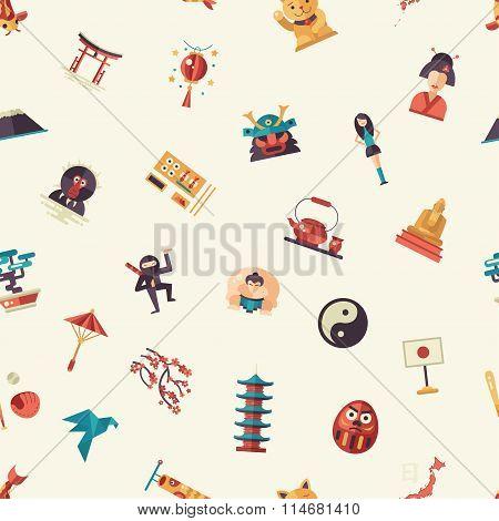 Flat design Japan travel pattern with landmarks, famous Japanese symbols