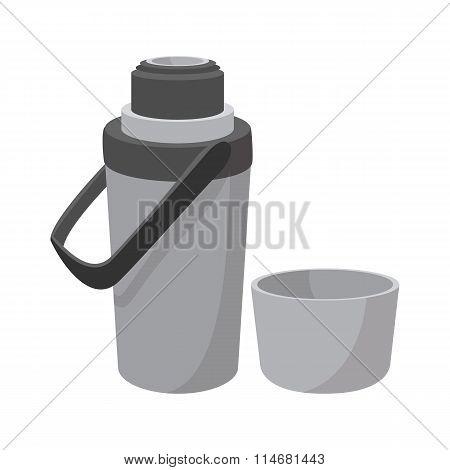 Grey thermos cartoon icon