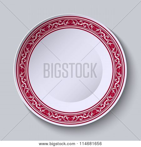 Decorative Dish With An Ethnic Floral Patterns On The Rim For Your Design.