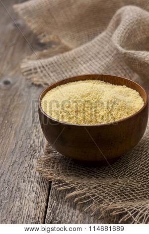 Couscous In A Wooden Bowl