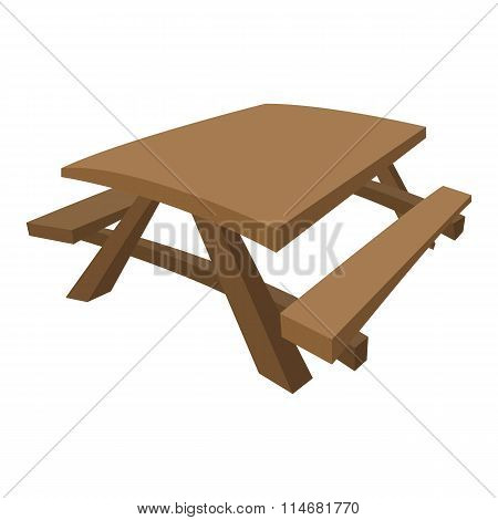 Wooden table with benches cartoon