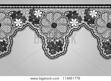 Unilateral Black Seamless Lace Braid. Lacy Background.