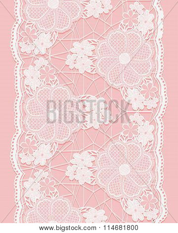 White Seamless Lace Ribbon On Pink Background. Vertical Border Of Floral Elements.