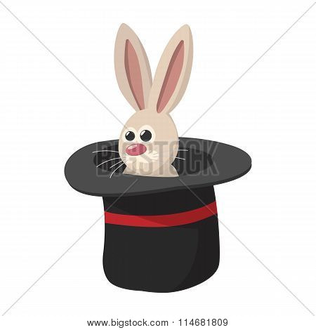 Rabbit in magic hat cartoon icon