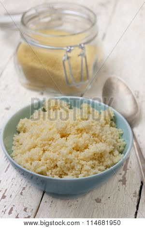 Cooked Couscous In A  Blue  Bowl