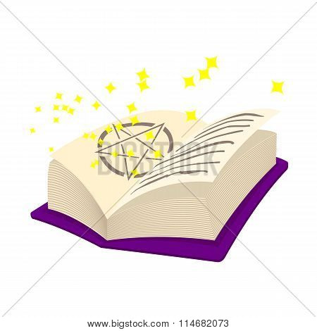 Magic book cartoon icon