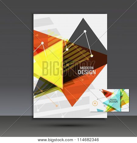 Light book cover. Abstract vector composition of triangles for printing books, brochures, leaflets