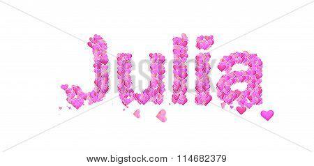 Julia Female Name Set With Hearts Type Design