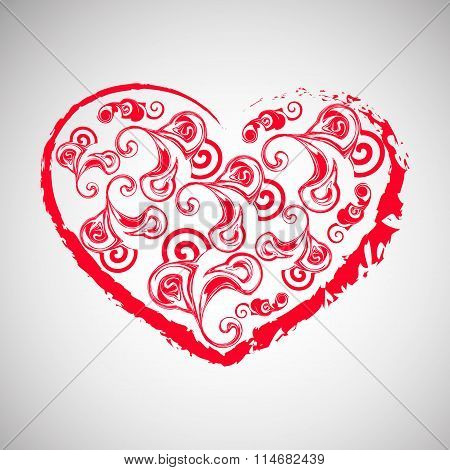 Isolated red heart on grey background