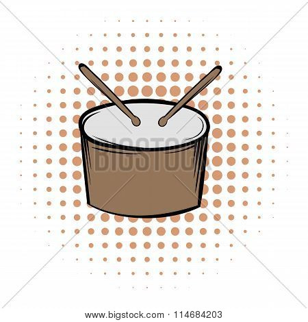 Drum and drumsticks comics icon