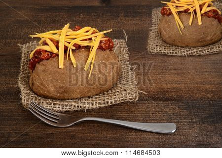 chili and cheese baked potato