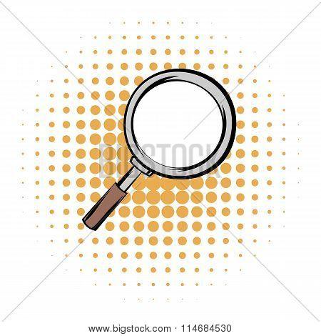 Magnifying glass comics icon