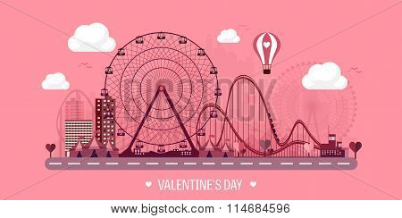 Vector illustration. Valentines day. Love. 14 february. Park. Ferris wheel. Roller coaster.