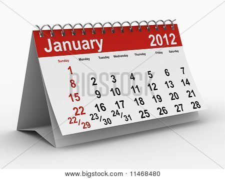 2012 Year Calendar. January. Isolated 3D Image