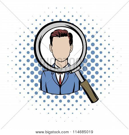 Magnifying glass focused on a person comics icon