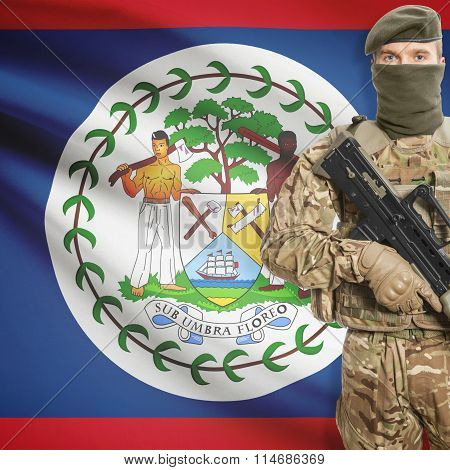 Soldier Holding Machine Gun With Flag On Background Series - Belize