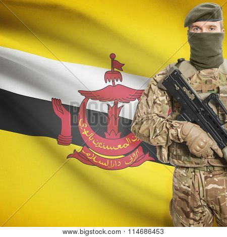 Soldier Holding Machine Gun With Flag On Background Series - Brunei