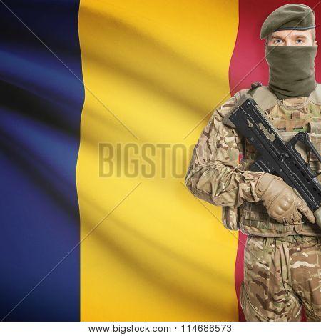 Soldier Holding Machine Gun With Flag On Background Series - Chad
