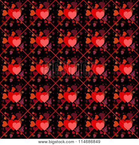 Valentine Hearts On Black Seamless Background