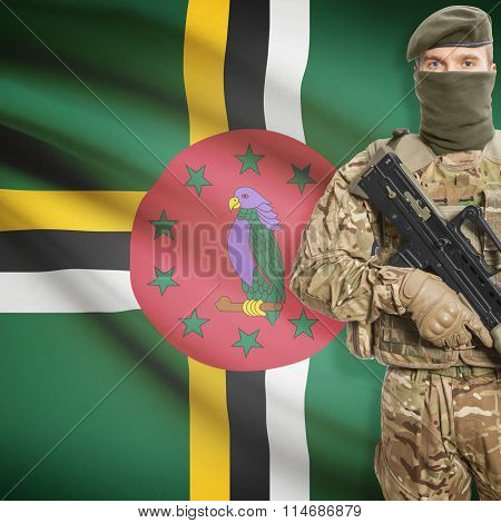 Soldier Holding Machine Gun With Flag On Background Series - Dominica