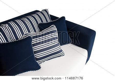 Outdoor sofa with cushions and pillows