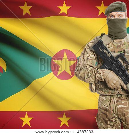 Soldier Holding Machine Gun With Flag On Background Series - Grenada