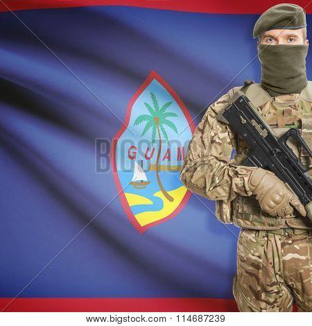 Soldier Holding Machine Gun With Flag On Background Series - Guam
