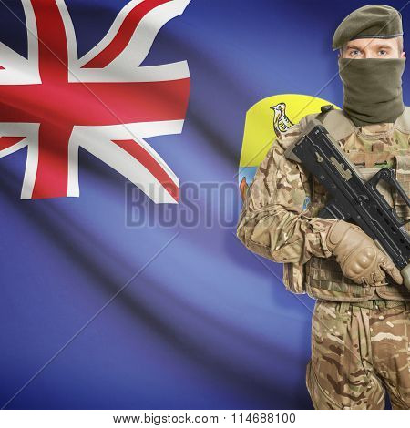 Soldier Holding Machine Gun With Flag On Background Series - Saint Helena