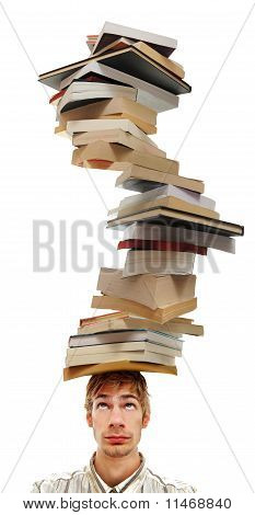 Balancing A Stack Of Books On Head