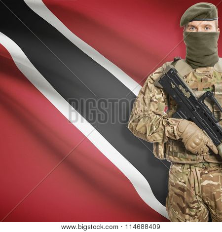 Soldier Holding Machine Gun With Flag On Background Series - Trinidad And Tobago