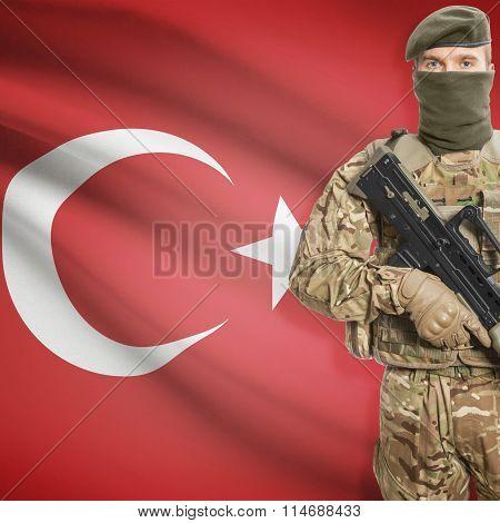 Soldier Holding Machine Gun With Flag On Background Series - Turkey