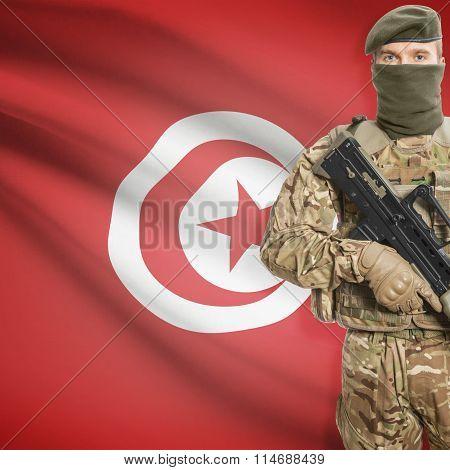 Soldier Holding Machine Gun With Flag On Background Series - Tunisia