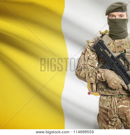 Soldier Holding Machine Gun With Flag On Background Series - Vatican City State