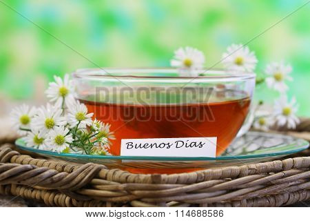 Buenos dias (Good morning in Spanish) with cup of chamomile tea and fresh chamomile flow